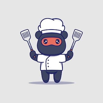 Ours ninja mignon avec uniforme de chef portant des spatules