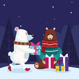 Ours de noël avec des boîtes à cadeaux sur la nuit enneigée, coloré, illustration