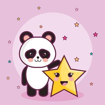 Ours panda et étoile kawaii