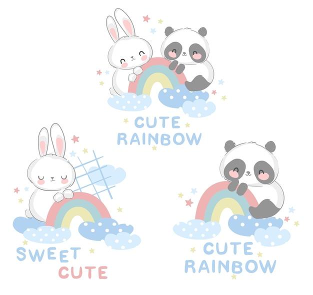 Ours panda mignon et lapin avec un design arc-en-ciel