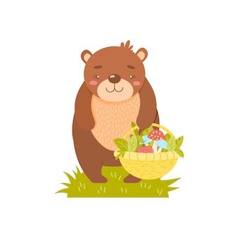 Ours avec un panier de champignons et de feuilles