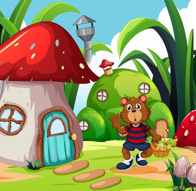 Un ours avec un panier de légumes dans un pays imaginaire