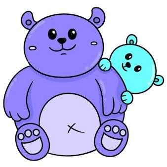 Ours des parents de famille et des enfants qui s'aiment, doodle dessiner kawaii. illustration vectorielle