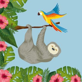 Ours paresseux suspendu de branche avec perroquet et fleurs
