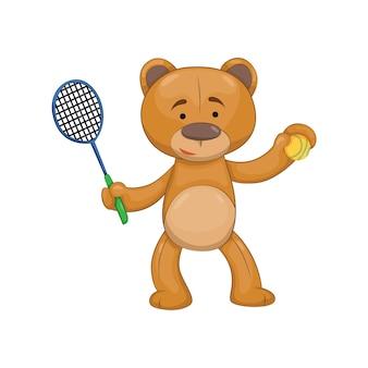 Ours en peluche. animal de dessin animé brun mignon. symbole drôle avec raquette de tennis et balle. autocollant de vecteur. modèle pour impression ou carte de voeux
