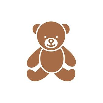 Ours en peluche jouet icône vecteur dans un style plat isolé sur fond blanc.