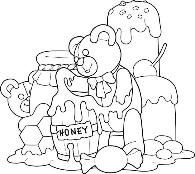 Ours en peluche mange du miel
