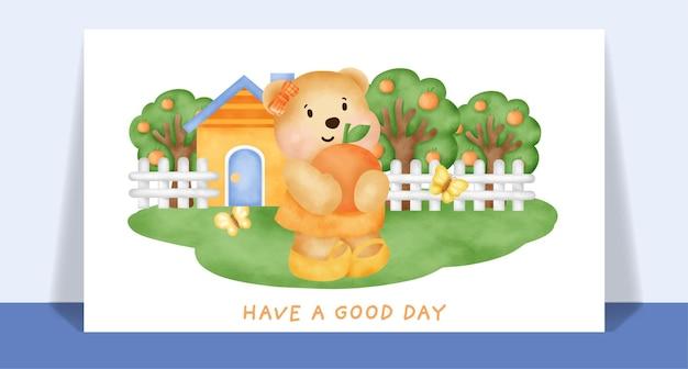 Ours en peluche mignon aquarelle dans la carte de jardin.