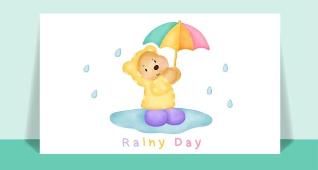 Ours en peluche mignon aquarelle sous la pluie pour carte de voeux