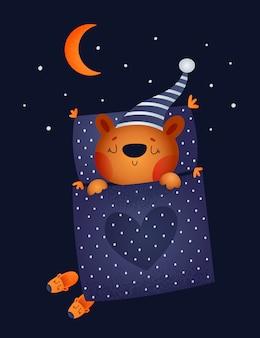 Ours en peluche mignon au lit