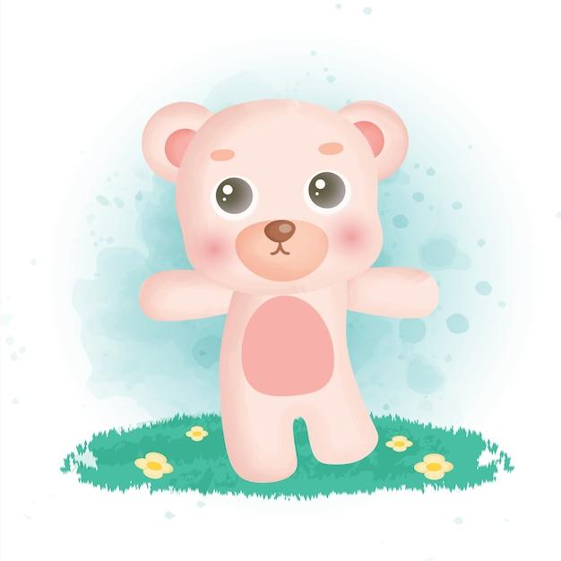 Ours en peluche mignon dans le jardin.