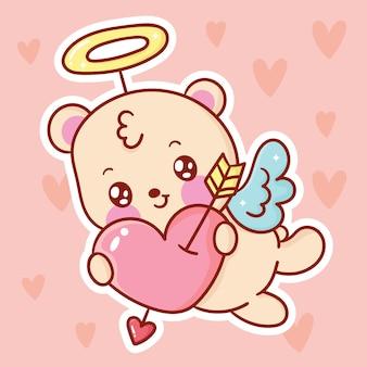 Ours en peluche mignon dessin animé cupidon kawaii animal saint valentin