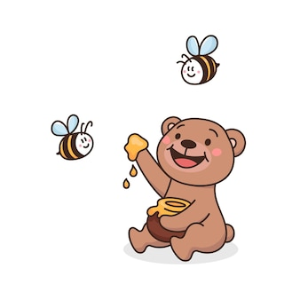 Ours en peluche mignon avec pot de miel et abeille