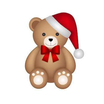 Ours en peluche de noël avec chapeau de père noël et noeud rouge