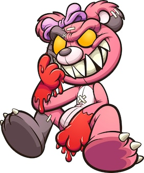 Ours en peluche rose maléfique avec des mains sanglantes assis