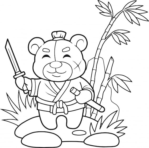 Ours en peluche samouraï