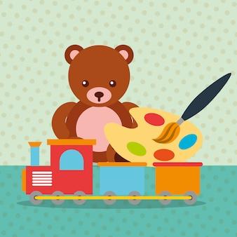 Ours en peluche train wagon peinture pinceau palette de couleurs jouets