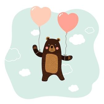 Ours avec personnage de dessin animé ballon