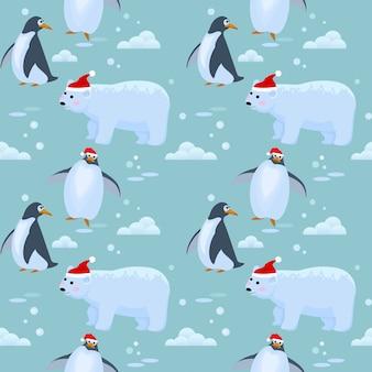 Ours et pingouin sur motif de glace.