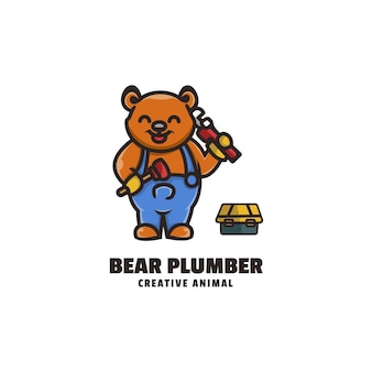 Ours plombier mascotte cartoon style logo