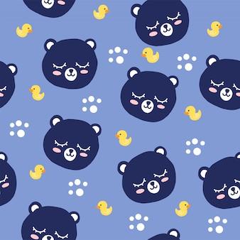 Ours et poissons de fond dessin animé