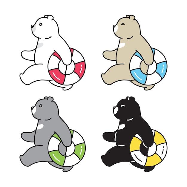 Ours polaire anneau de natation personnage de dessin animé icône