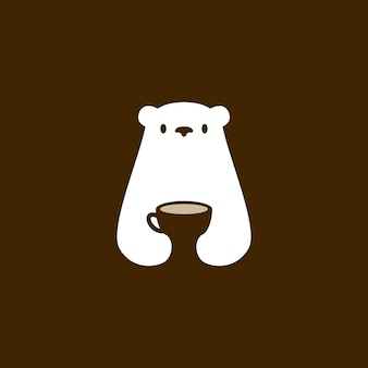 Ours polaire café tasse café boisson blanche espace négatif logo vector icon illustration