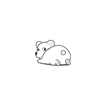 Ours polaire couché et regardant en arrière