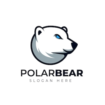 Ours polaire créatif tête cartoon mascotte logo illustration