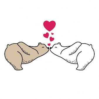 Ours polaire dessin animé coeur baiser