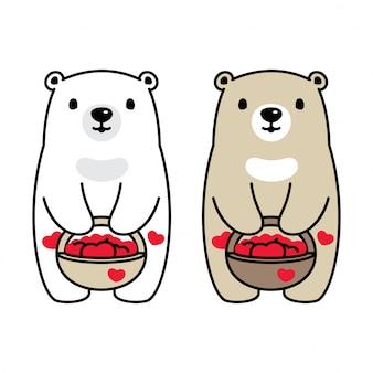 Ours polaire dessin animé coeur panier valentine illustration