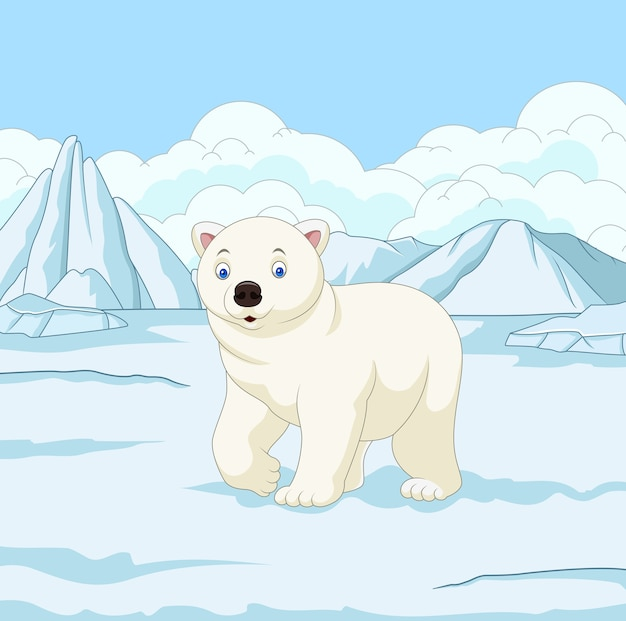 Ours polaire de dessin animé dans le champ de neige