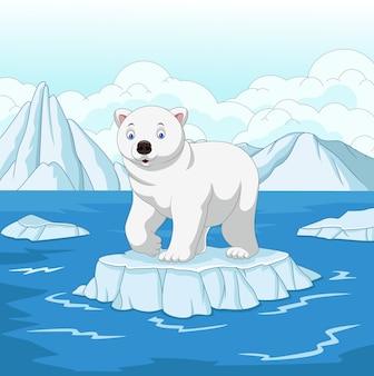 Ours polaire de dessin animé isolé sur la banquise