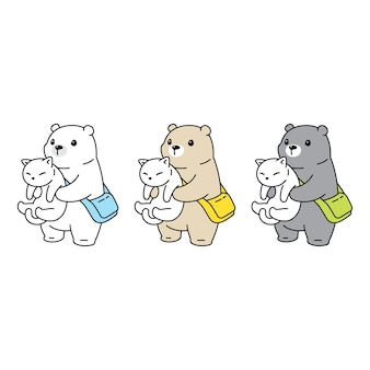 Ours polaire avec dessin animé de personnage de chat