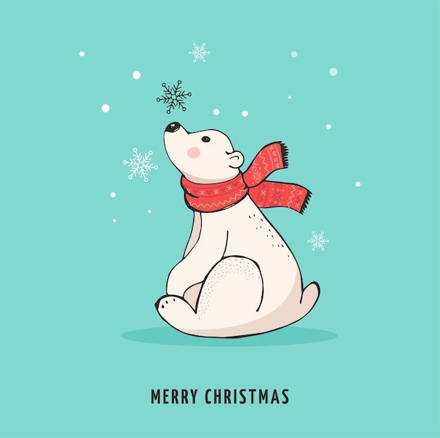 Ours polaire dessiné à la main, ensemble d'ours mignon, mère et bébé ours, couple d'ours.