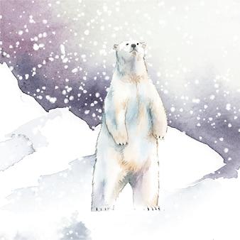 Ours polaire dessinés à la main dans le vecteur de style aquarelle neige