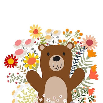 Ours polaire avec fleur doodle illustration