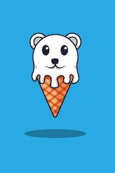 Ours polaire avec illustration de dessin animé de crème glacée