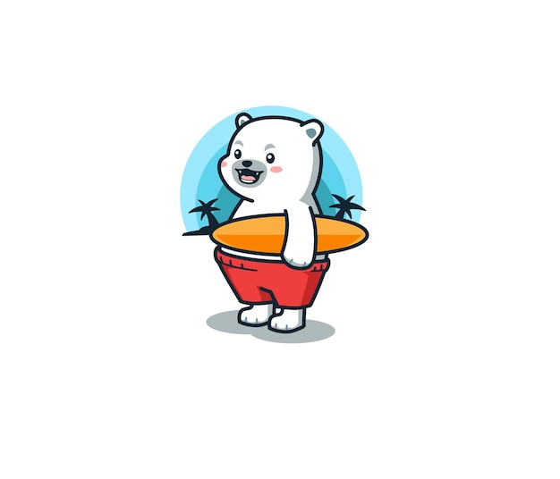 Ours polaire avec illustration de planche de surf