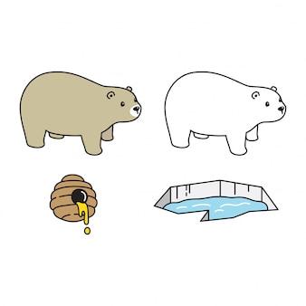 Ours, polaire, miel, iceberg, caractère, dessin animé, icône