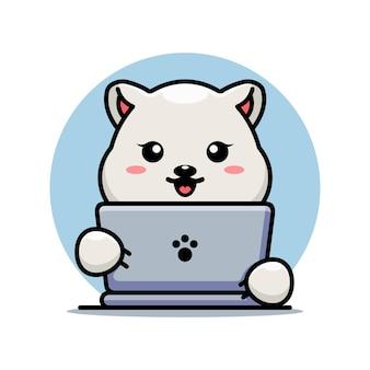 Ours polaire mignon avec dessin animé pour ordinateur portable