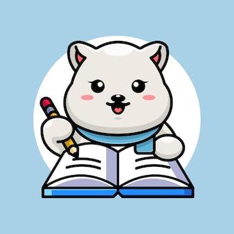 Ours polaire mignon écrit sur livre avec dessin animé au crayon