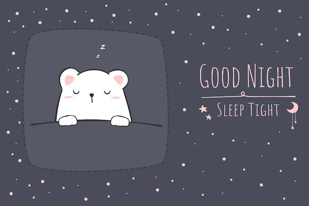 Ours polaire mignon endormi dessin animé doodle bonne nuit papier peint