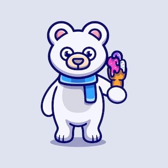 Ours polaire mignon mangeant une illustration de crème glacée