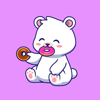 Ours polaire mignon mangeant une illustration d'icône de vecteur de dessin animé de beignet. concept d'icône de nourriture animale isolé vecteur premium. style de dessin animé plat