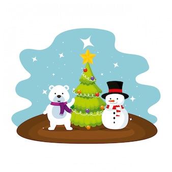 Ours polaire mignon avec des personnages de bonhomme de neige