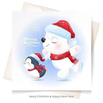 Ours polaire mignon et pingouin pour noël avec carte aquarelle