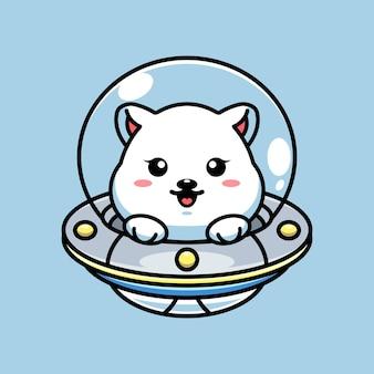 Ours polaire mignon volant avec dessin animé ovni de vaisseau spatial