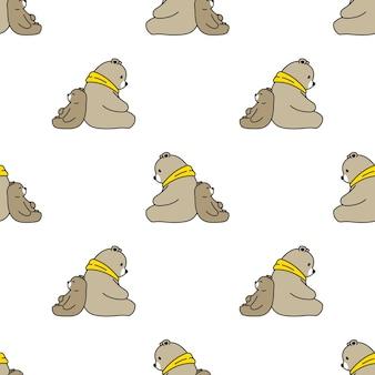 Ours polaire modèle sans couture dessin animé en peluche
