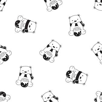 Ours polaire modèle sans couture miel illustration de dessin animé
